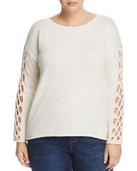 Vince Camuto Signature - Open Braided Sleeve Sweater - Lyst