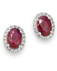 Bloomingdale's - Ruby & Diamond Stud Earrings In 14k White Gold - Lyst