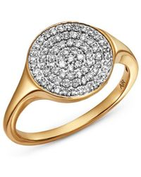 Adina Reyter - 14k Yellow Gold Pavé Diamond Extra Large Disc Signet Ring - Lyst