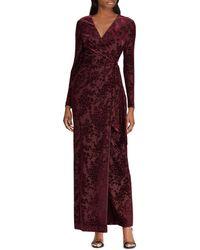 Ralph Lauren - Lauren Flocked Faux-wrap Gown - Lyst