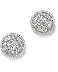 Bloomingdale's - Round And Princess-cut Diamond Cluster Earrings In 14k White Gold, 2.0 Ct. T.w. - Lyst