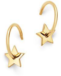 Zoe Chicco - 14k Yellow Gold Small Star Washer Huggie Hoop Earrings - Lyst