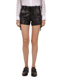 The Kooples - Lace-up Leather Mini Shorts - Lyst