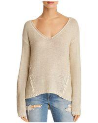 Aqua - Lace-up Detail Sweater - Lyst