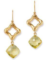 Bloomingdale's - Lemon Quartz Clover Drop Earrings In 14k Yellow Gold - Lyst