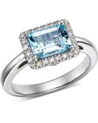 Bloomingdale's - Aquamarine & Diamond Ring In 14k White Gold - Lyst
