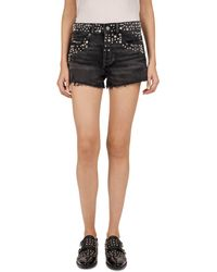 The Kooples - Studded Frayed Mini Shorts In Black - Lyst