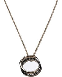 John Hardy - Sterling Silver Bamboo Lava Medium Interlink Pendant Necklace With Black Sapphires - Lyst