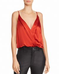 Michelle Mason - Wrap-effect Silk-charmeuse Thong Bodysuit - Lyst