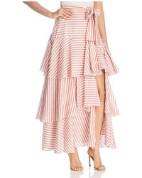 Badgley Mischka - Striped Ruffle Maxi Skirt - Lyst