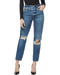 GOOD AMERICAN - Good Vintage Ripped Ankle Straight Leg Jeans - Lyst