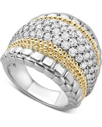 Lagos - 18k Gold And Sterling Silver Diamond Lux Large Ring - Lyst