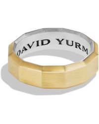 David Yurman - Faceted Sterling Silver Band Ring With 18k Gold - Lyst