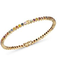 Shebee - 14k Yellow Gold Multicolor Sapphire Infinity Bangle Bracelet - Lyst