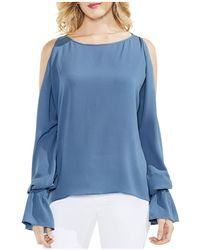 Vince Camuto - Gathered Bell Sleeve Cold Shoulder Blouse - Lyst