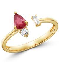 Bloomingdale's - Ruby & Diamond Open Ring In 14k Yellow Gold - Lyst