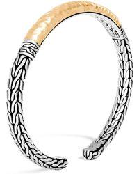 John Hardy - 18k Yellow Gold & Sterling Silver Classic Chain Hammered Slim Flex Cuff Bracelet - Lyst