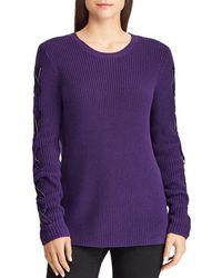 Ralph Lauren - Lauren Velvet Lace-up Sleeve Sweater - Lyst
