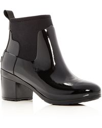 HUNTER - Women's Refined Gloss Mid Block Heel Rain Booties - Lyst