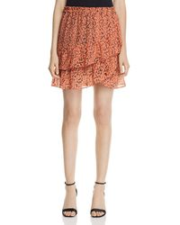 Scotch & Soda - Leopard-print Tiered Asymmetric Tulip Skirt - Lyst