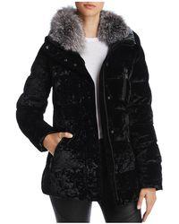 Andrew Marc - Vara Fox Fur Trim Velvet Down Coat - Lyst