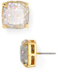 Kate Spade - Small Square Glitter Stud Earrings - Lyst