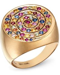 Shebee - 14k Yellow Gold Multicolour Sapphire Spiral Cocktail Ring - Lyst