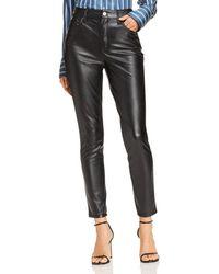 Aqua - Faux Leather Skinny Pants - Lyst