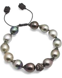 Armenta - Old World Midnight Tahitian South Sea Pearl And Champagne Diamond Beaded Cord Bracelet - Lyst