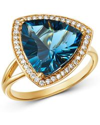 Bloomingdale's - London Blue Topaz & Diamond Statement Ring In 14k Yellow Gold - Lyst