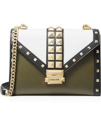 c497658be1369a MICHAEL Michael Kors - Whitney Large Color-block Studded Leather Shoulder  Bag - Lyst