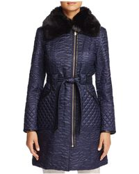 Via Spiga - Faux Fur Trim Belted & Quilted Coat - Lyst