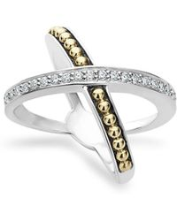 Lagos - 18k Gold And Sterling Silver X Ring With Diamonds - Lyst