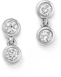 KC Designs - 14k White Gold Diamond Double Bezel Earrings - Lyst
