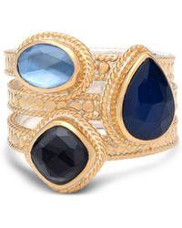 Anna Beck - Sapphire & Hematite Layered Ring In 18k Gold-plated Sterling Silver - Lyst
