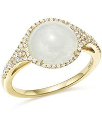 Meira T - 14k Yellow Gold Rainbow Moonstone And Diamond Ring - Lyst