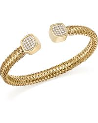 Roberto Coin - 18k Yellow Gold Primavera Diamond Capped Cuff - Lyst
