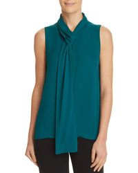 Theory - Draped Tie-neck Sleeveless Classic Silk Georgette Shell - Lyst