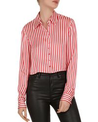0ffeb905252d10 Lyst - The Kooples Shirt - Stripe Silk Crepe De Chine Leather Collar ...