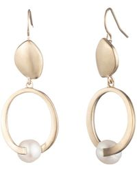 Carolee - Sculptural Cultured Freshwater Pearl Double Drop Earrings - Lyst