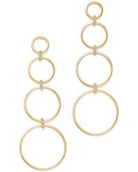 Mateo - 14k Yellow Gold Diamond Connected Circle Drop Earrings - Lyst