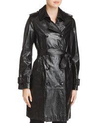 Elie Tahari - Natania Leather Trench Coat - Lyst