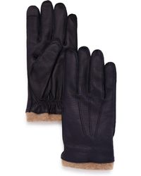 Bloomingdale's - Knit-cuff Leather Tech Gloves - Lyst
