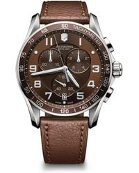 Victorinox - Chronograph Classic Brown Leather Strap Watch, 45mm - Lyst