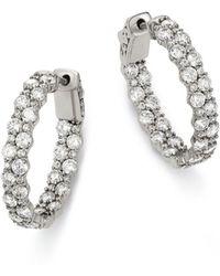 Bloomingdale's Diamond Hoop Earrings In 14k White Gold