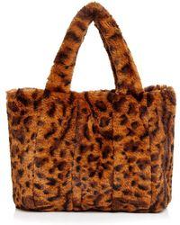 Aqua - Leopard-print Faux-fur Tote - Lyst