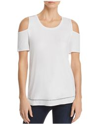 Lyssé - Mira Embroidered Cold-shoulder Top - Lyst