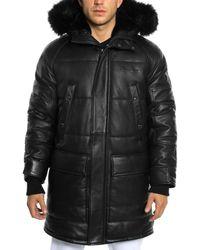 Sean John - Faux Fur-trimmed Leather Snorkel Jacket - Lyst