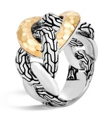 John Hardy - 18k Yellow Gold And Sterling Silver Classic Chain Hammered Band Ring - Lyst