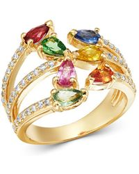 Bloomingdale's - Rainbow Sapphire & Diamond Ring In 14k Yellow Gold - Lyst